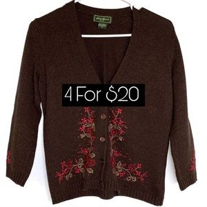Eddie Bauer Brown Floral Embroidered Cardigan XS